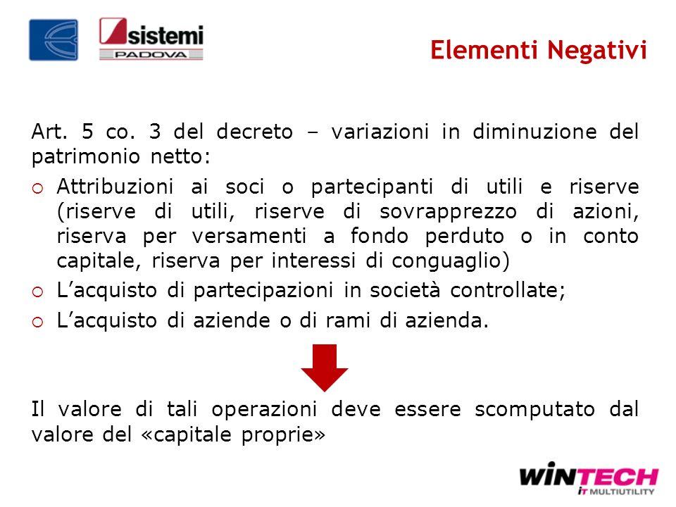 Elementi Negativi Art. 5 co. 3 del decreto – variazioni in diminuzione del patrimonio netto: