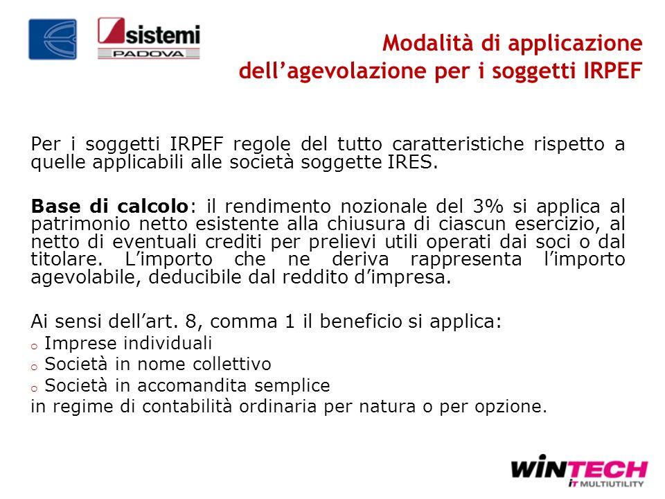 Modalità di applicazione dell'agevolazione per i soggetti IRPEF