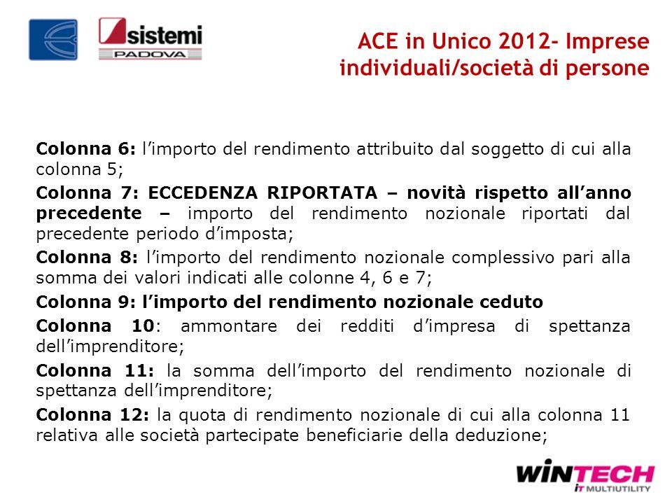 ACE in Unico 2012- Imprese individuali/società di persone