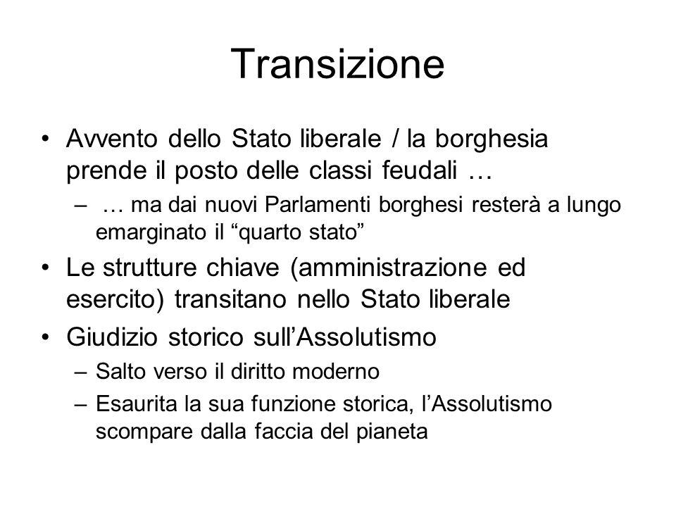 Transizione Avvento dello Stato liberale / la borghesia prende il posto delle classi feudali …