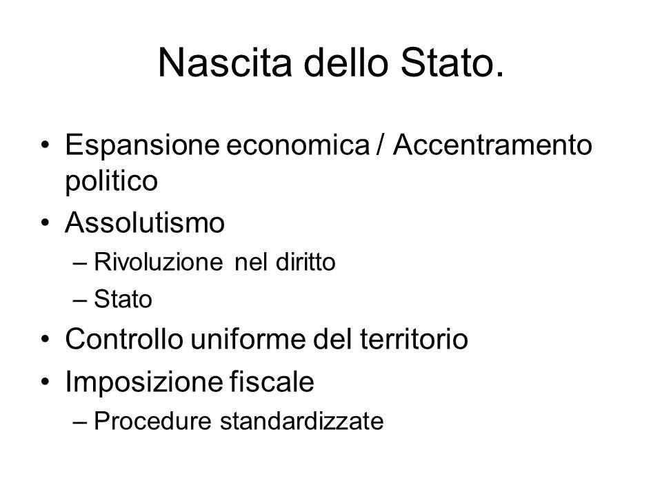 Nascita dello Stato. Espansione economica / Accentramento politico
