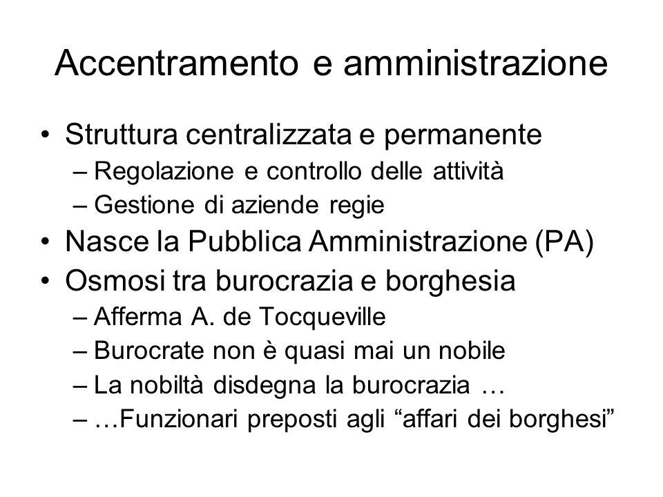 Accentramento e amministrazione