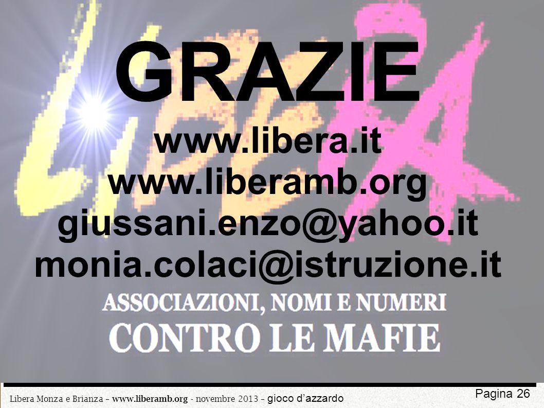 GRAZIE www.libera.it www.liberamb.org giussani.enzo@yahoo.it