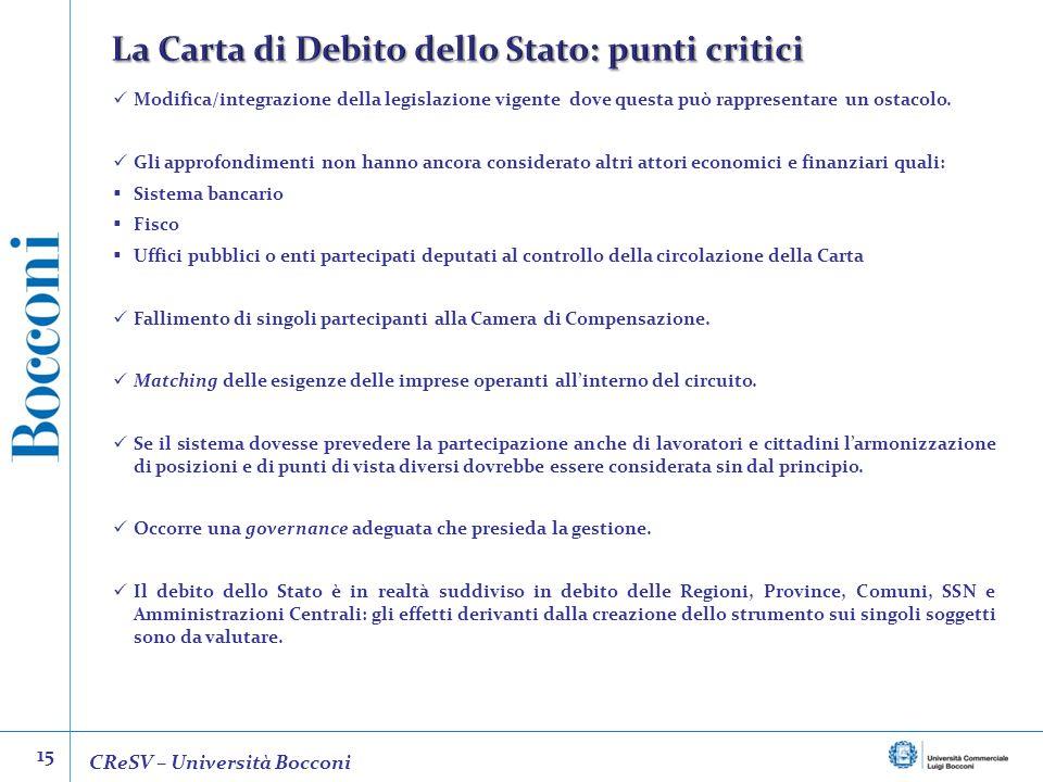 La Carta di Debito dello Stato: punti critici