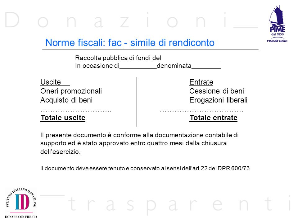Norme fiscali: fac - simile di rendiconto