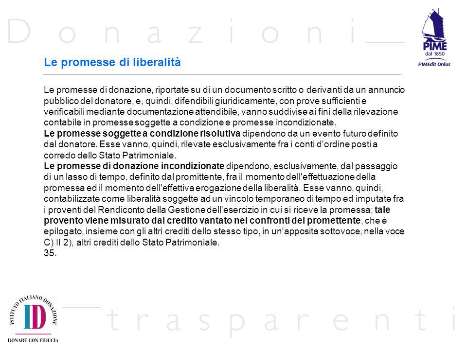 Le promesse di liberalità