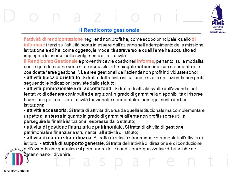 Il Rendiconto gestionale