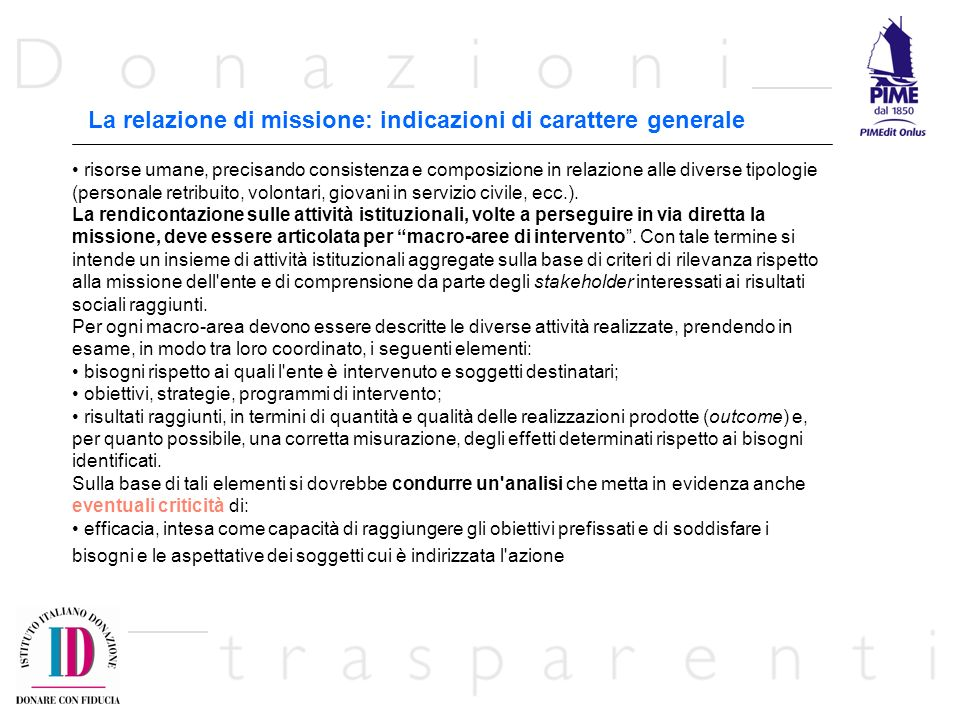 La relazione di missione: indicazioni di carattere generale