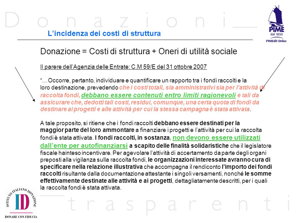 Donazione = Costi di struttura + Oneri di utilità sociale