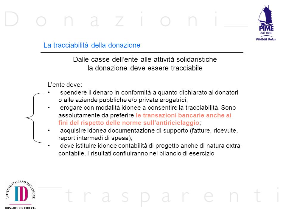 La tracciabilità della donazione