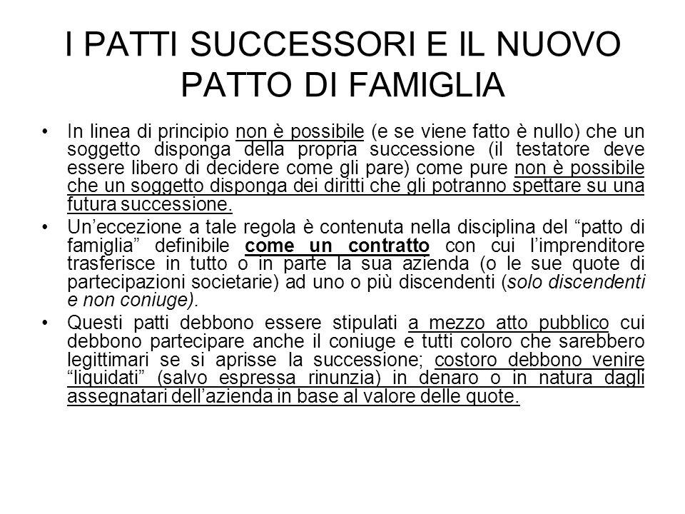 I PATTI SUCCESSORI E IL NUOVO PATTO DI FAMIGLIA