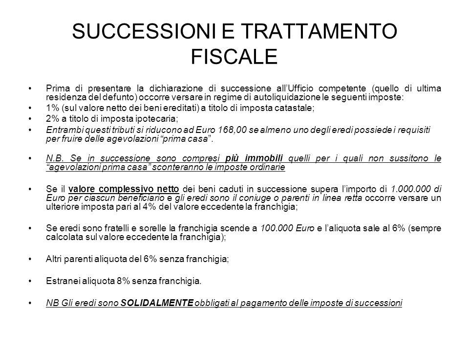 SUCCESSIONI E TRATTAMENTO FISCALE