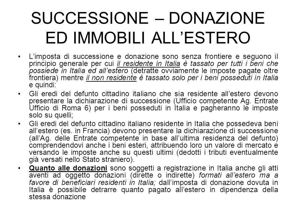 SUCCESSIONE – DONAZIONE ED IMMOBILI ALL'ESTERO