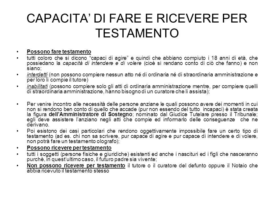 CAPACITA' DI FARE E RICEVERE PER TESTAMENTO