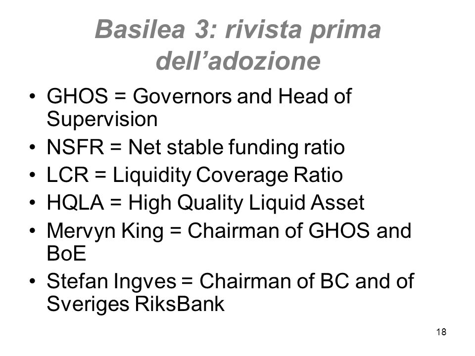 Basilea 3: rivista prima dell'adozione