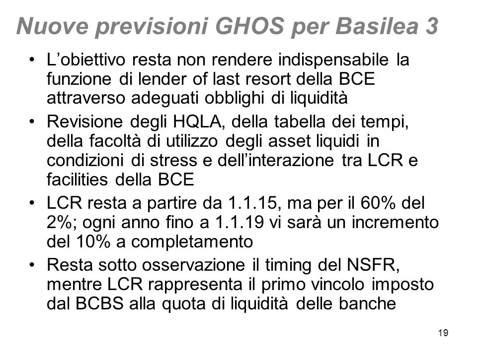 Nuove previsioni GHOS per Basilea 3