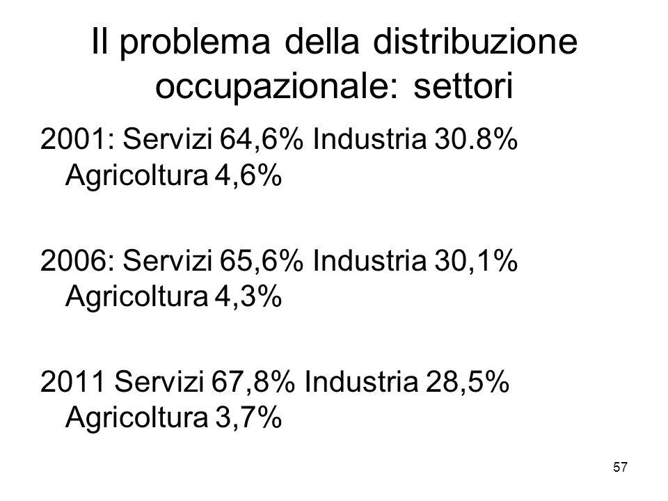 Il problema della distribuzione occupazionale: settori