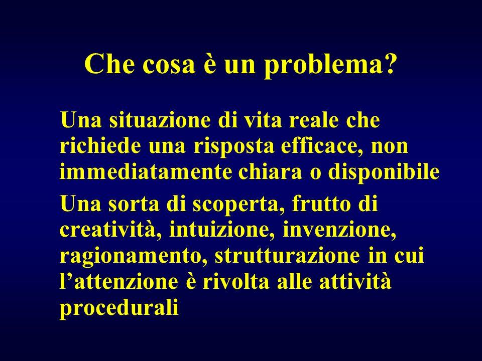 Che cosa è un problema Una situazione di vita reale che richiede una risposta efficace, non immediatamente chiara o disponibile.