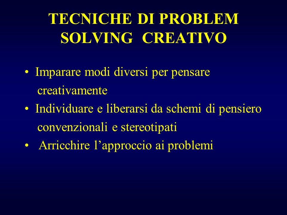 TECNICHE DI PROBLEM SOLVING CREATIVO