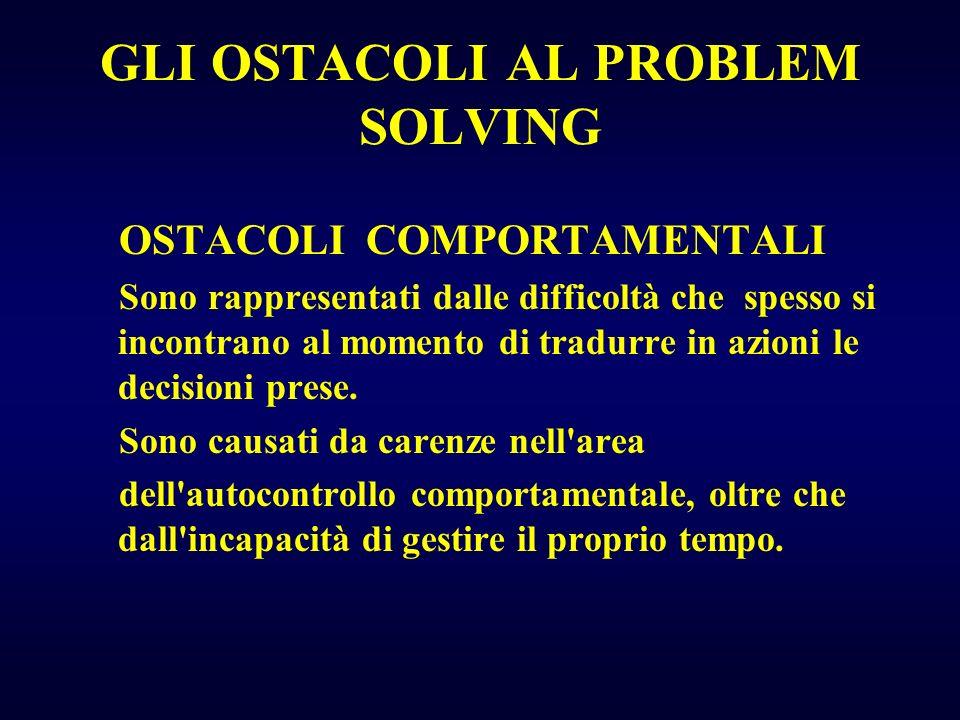 GLI OSTACOLI AL PROBLEM SOLVING