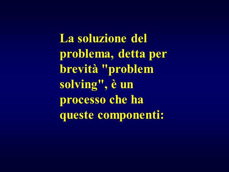 La soluzione del problema, detta per brevità problem solving , è un processo che ha queste componenti: