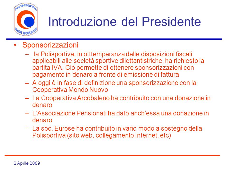 Introduzione del Presidente