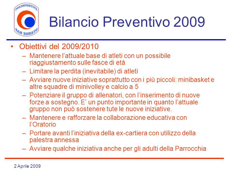 Bilancio Preventivo 2009 Obiettivi del 2009/2010