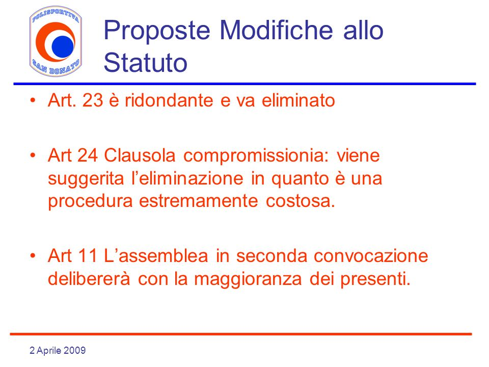 Proposte Modifiche allo Statuto