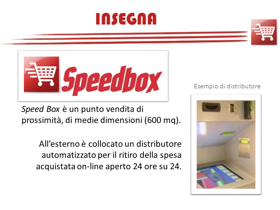 INSEGNA Esempio di distributore. Speed Box è un punto vendita di prossimità, di medie dimensioni (600 mq).