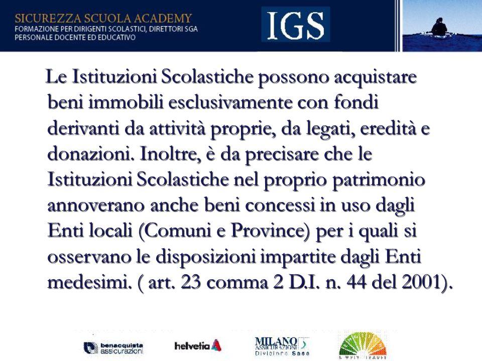 Le Istituzioni Scolastiche possono acquistare beni immobili esclusivamente con fondi derivanti da attività proprie, da legati, eredità e donazioni.