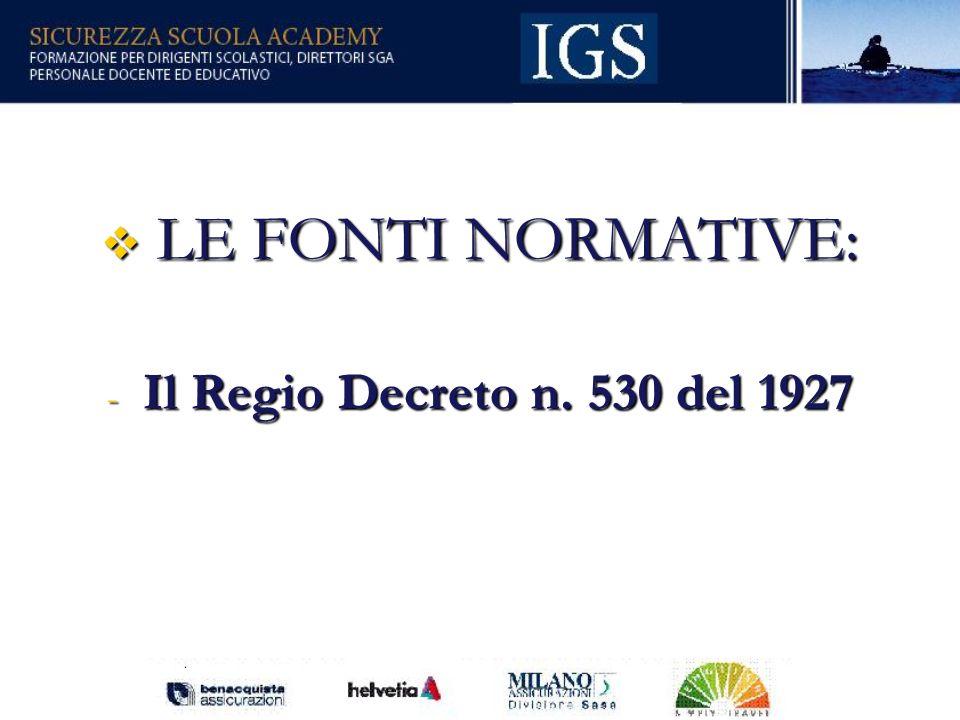 LE FONTI NORMATIVE: Il Regio Decreto n. 530 del 1927