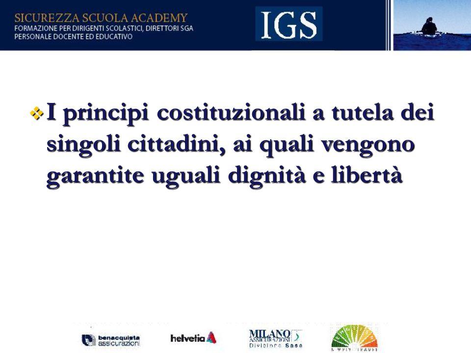 I principi costituzionali a tutela dei singoli cittadini, ai quali vengono garantite uguali dignità e libertà