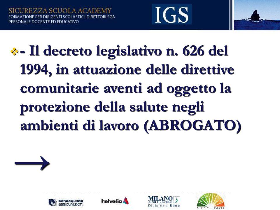 - Il decreto legislativo n