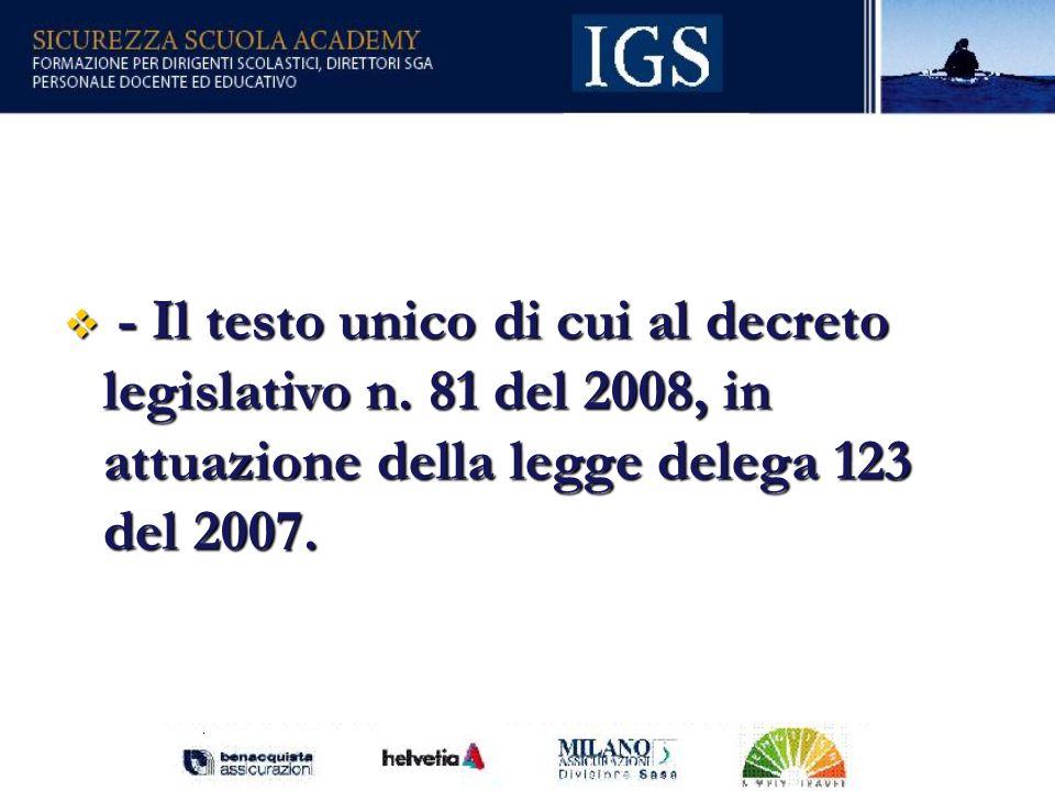 - Il testo unico di cui al decreto legislativo n