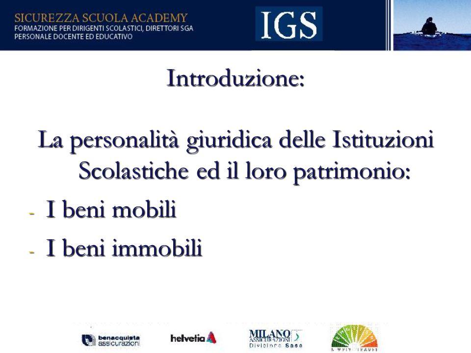 Introduzione: La personalità giuridica delle Istituzioni Scolastiche ed il loro patrimonio: I beni mobili.