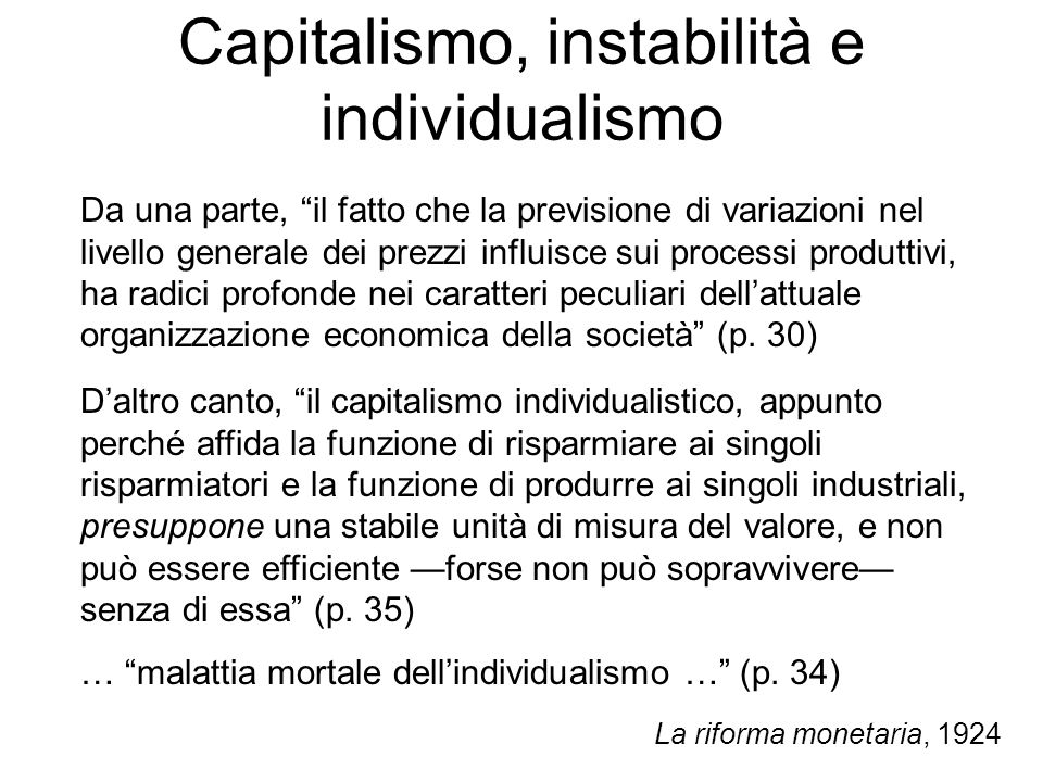 Capitalismo, instabilità e individualismo