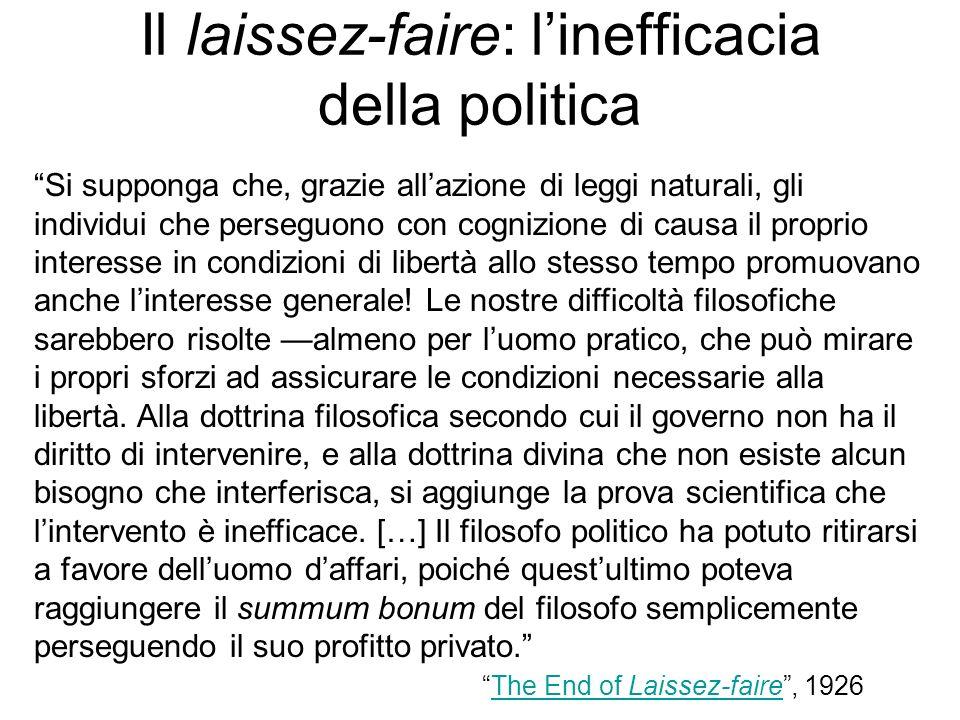 Il laissez-faire: l'inefficacia della politica