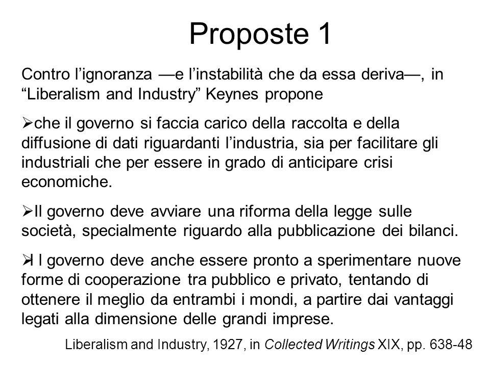 Proposte 1 Contro l'ignoranza —e l'instabilità che da essa deriva—, in Liberalism and Industry Keynes propone.