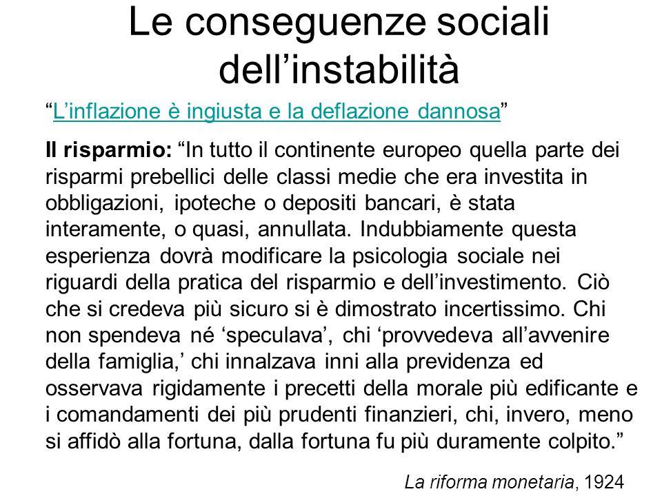 Le conseguenze sociali dell'instabilità