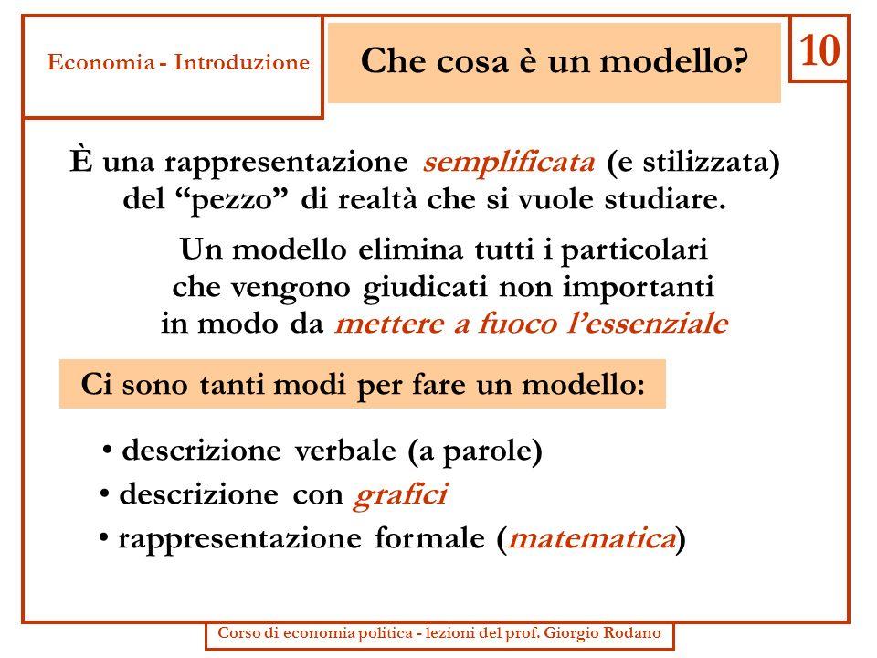 10 Che cosa è un modello Economia - Introduzione. È una rappresentazione semplificata (e stilizzata)