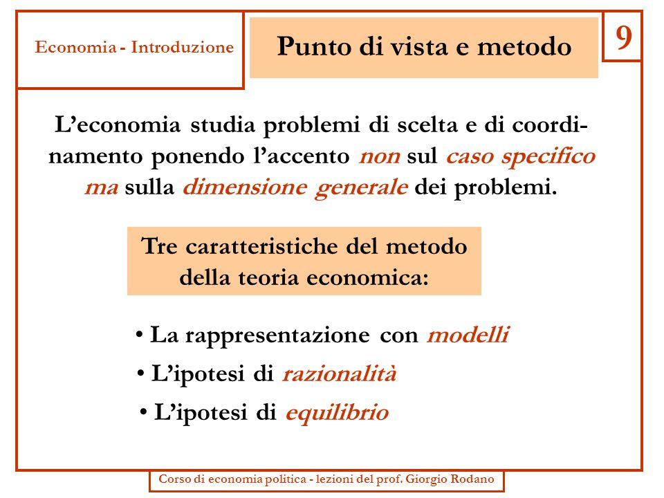 9 Punto di vista e metodo. Economia - Introduzione.