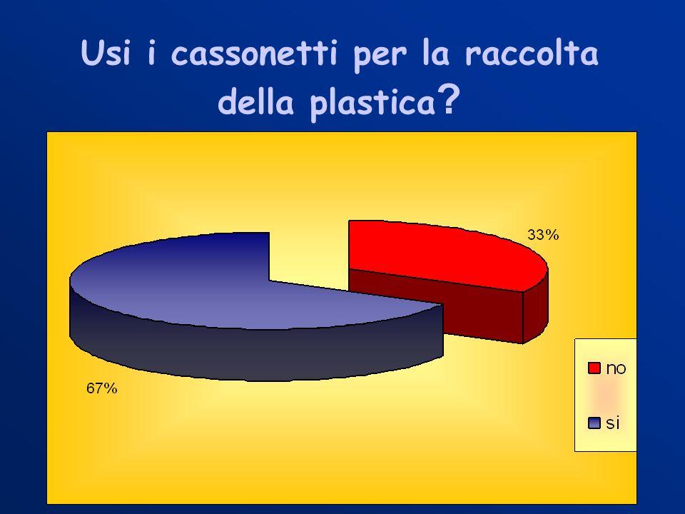Usi i cassonetti per la raccolta della plastica