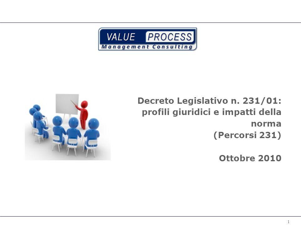 Decreto Legislativo n. 231/01: profili giuridici e impatti della norma (Percorsi 231) Ottobre 2010