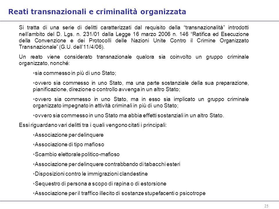 Reati transnazionali e criminalità organizzata