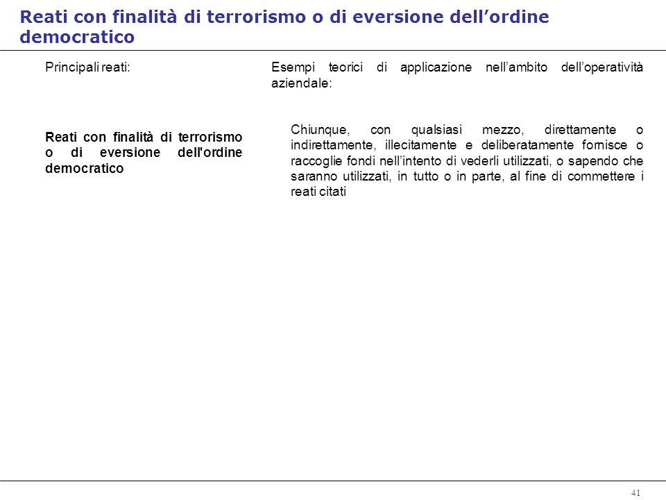 Reati con finalità di terrorismo o di eversione dell'ordine democratico
