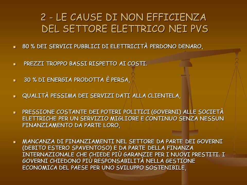 2 - LE CAUSE DI NON EFFICIENZA DEL SETTORE ELETTRICO NEI PVS