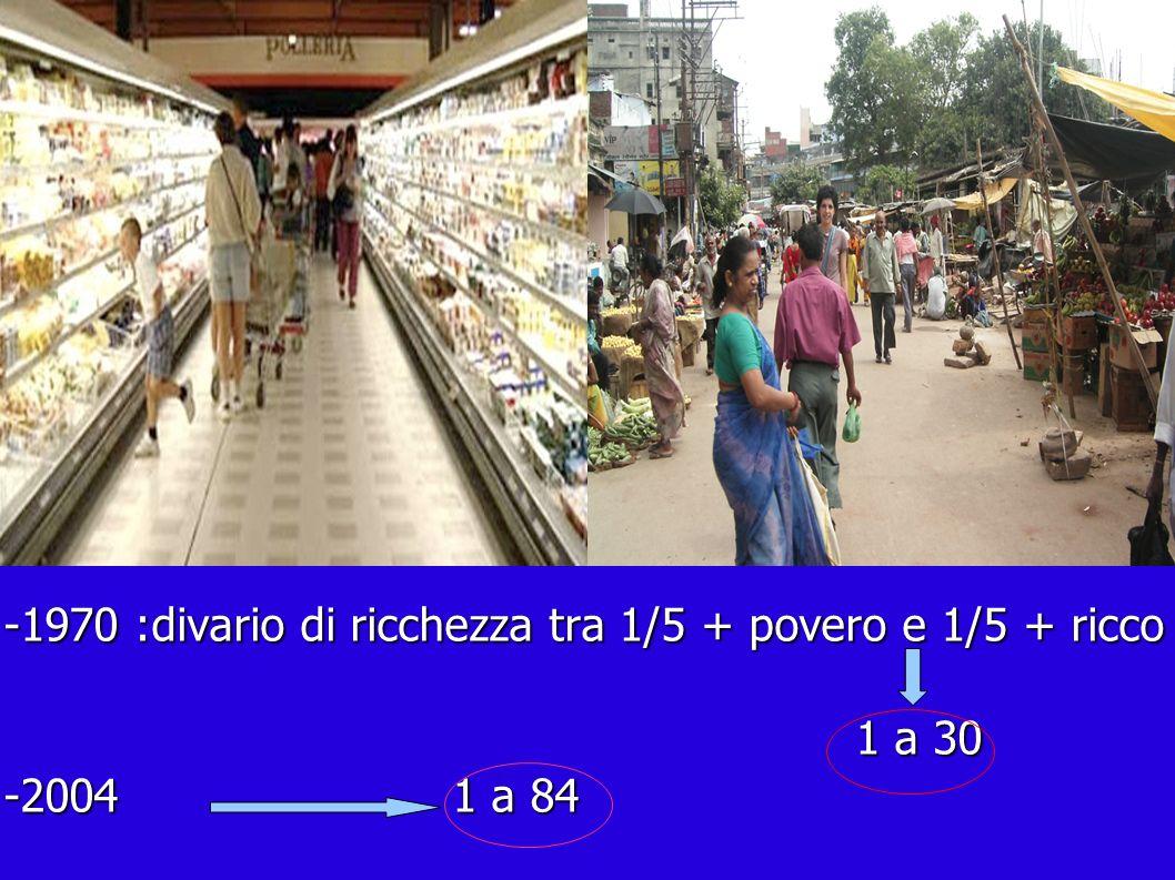 -1970 :divario di ricchezza tra 1/5 + povero e 1/5 + ricco