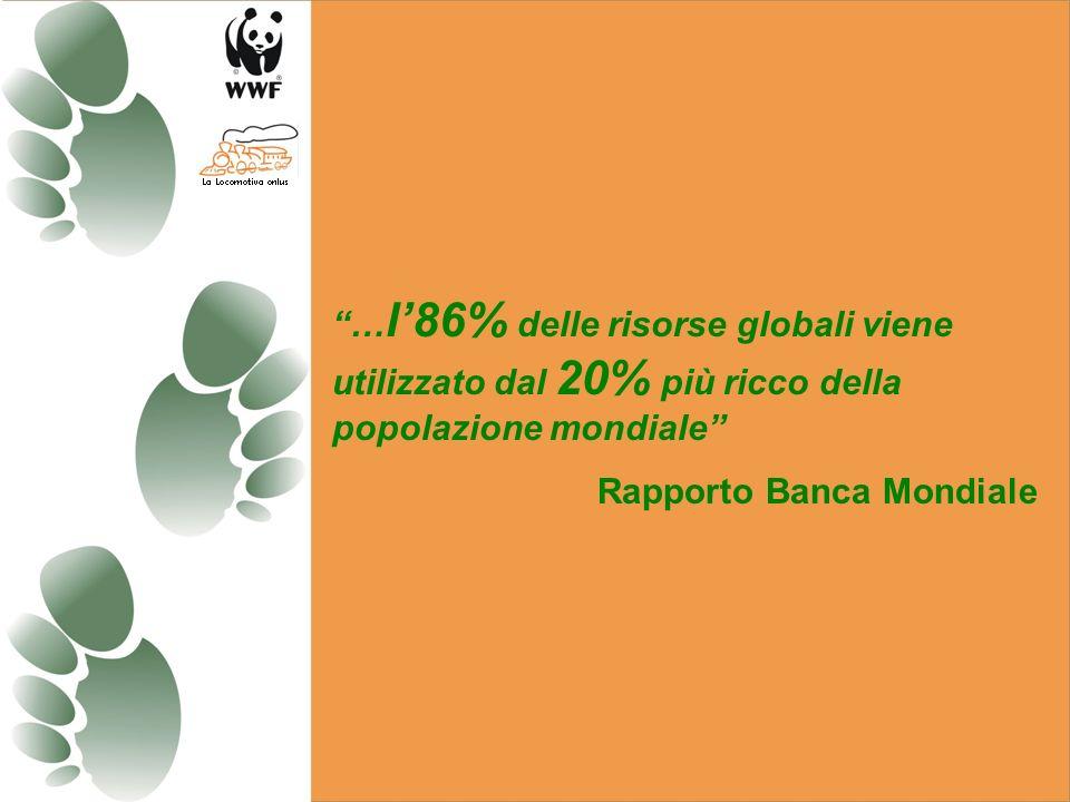 …l'86% delle risorse globali viene utilizzato dal 20% più ricco della popolazione mondiale