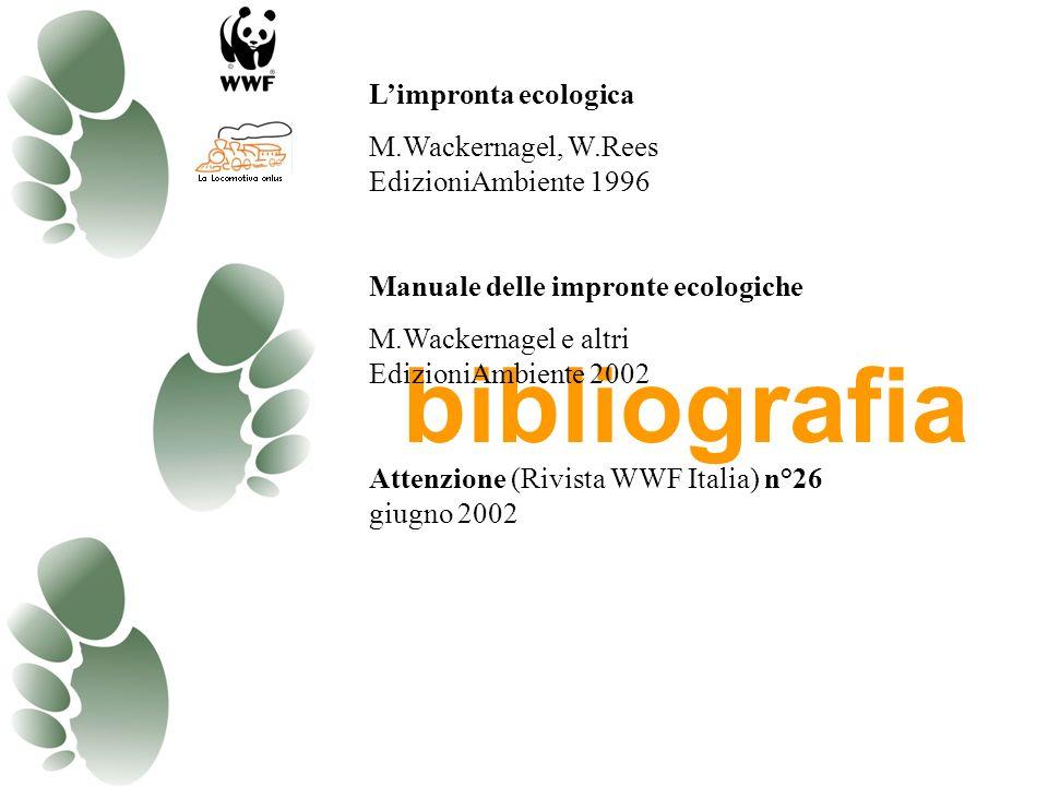 L'impronta ecologica M.Wackernagel, W.Rees EdizioniAmbiente 1996. Manuale delle impronte ecologiche.
