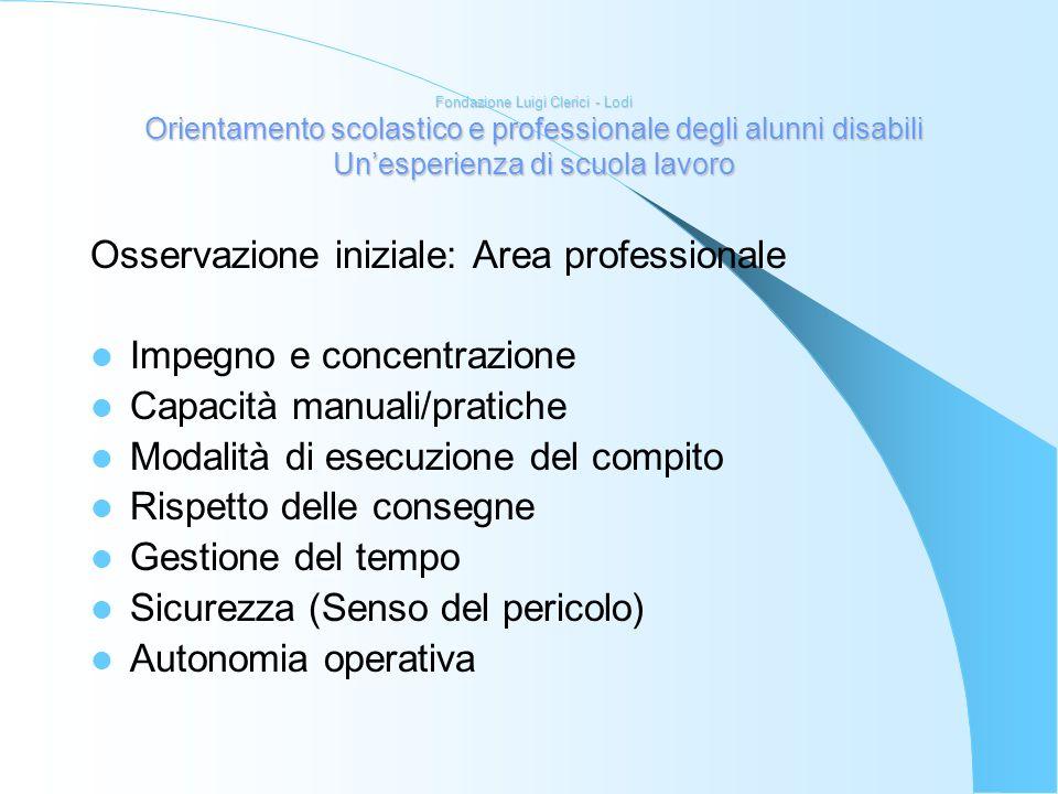 Osservazione iniziale: Area professionale Impegno e concentrazione